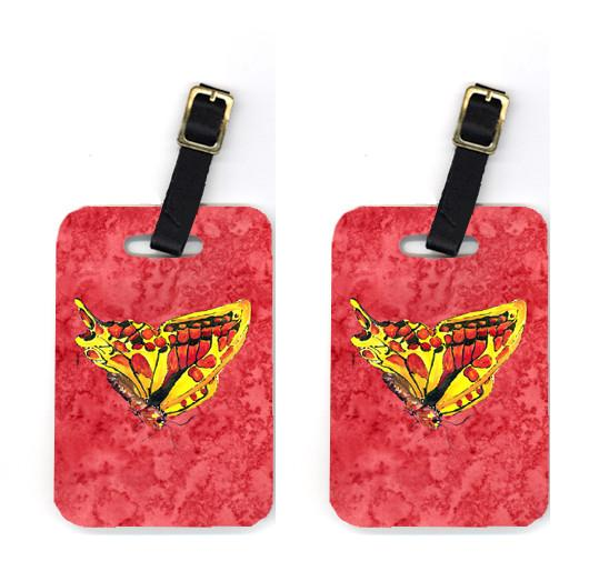 Pair of Butterfly on Red Luggage Tags by Caroline's Treasures