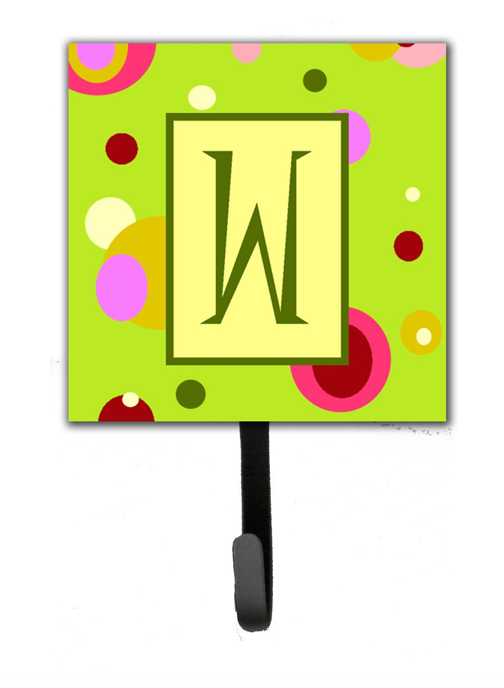 Letter W Initial Monogram - Green Leash Holder or Key Hook by Caroline's Treasures