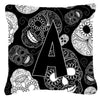 Buy this Letter A Day of the Dead Skulls Black Canvas Fabric Decorative Pillow CJ2008-APW1414