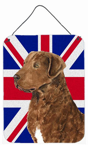 Buy this Curly Coated Retriever with English Union Jack British Flag Wall or Door Hanging Prints SS4973DS1216