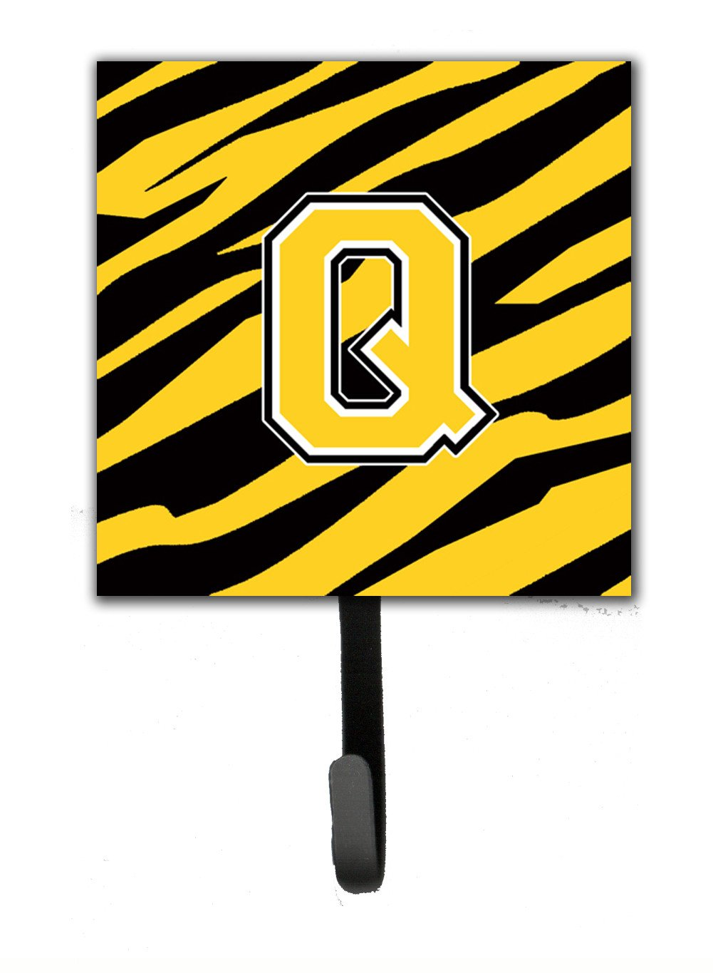 Letter Q Initial Monogram - Tiger Stripe - Black Gold Leash Holder or Key Hook by Caroline's Treasures