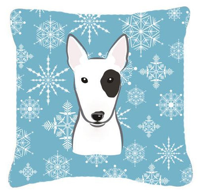 Buy this Snowflake Bull Terrier Fabric Decorative Pillow BB1643PW1414
