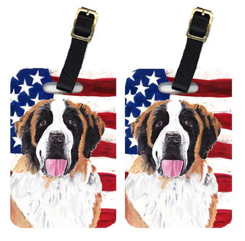 Buy this Pair of USA American Flag with Saint Bernard Luggage Tags SC9027BT