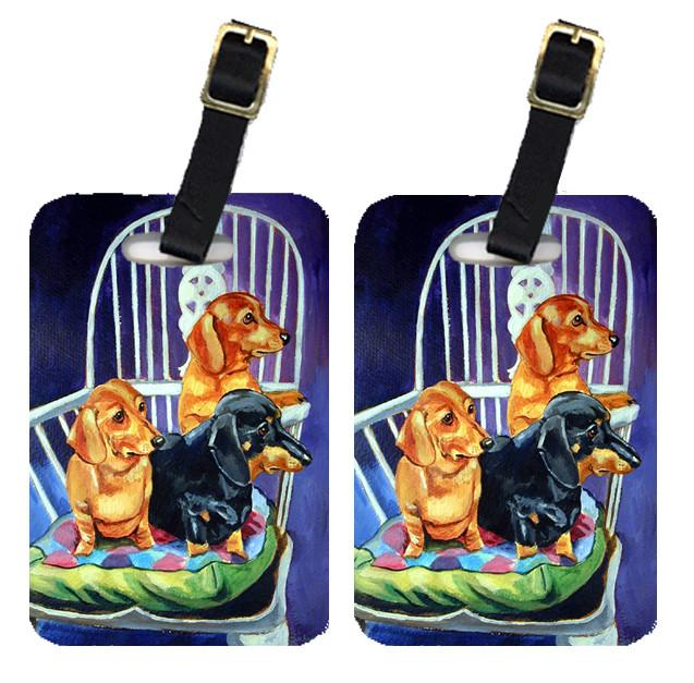 Buy this Pair of 2 Dachshunds Two Red and a Black and Tan Luggage Tags