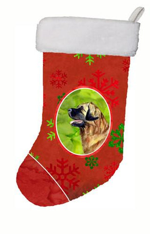 Buy this Leonberger Red and Green Snowflakes Holiday Christmas Christmas Stocking LH9348