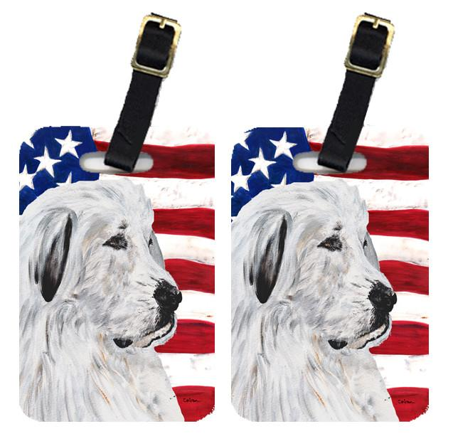 Pair of Great Pyrenees with American Flag USA Luggage Tags SC9642BT by Caroline's Treasures