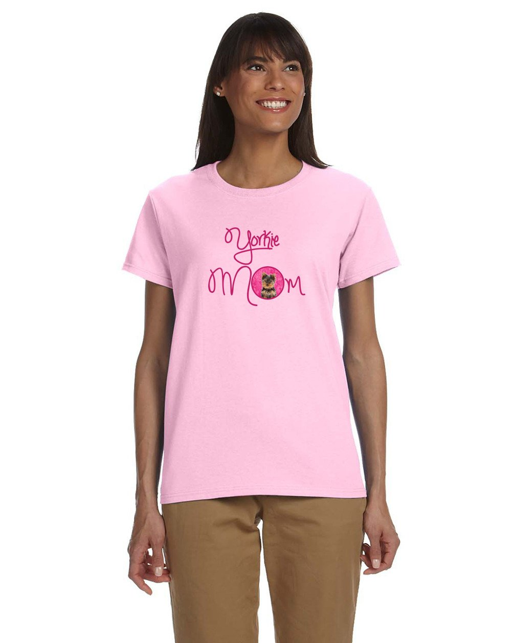 Pink Yorkie Puppy / Yorkshire Terrier Mom T-shirt Ladies Cut Short Sleeve XL by Caroline's Treasures
