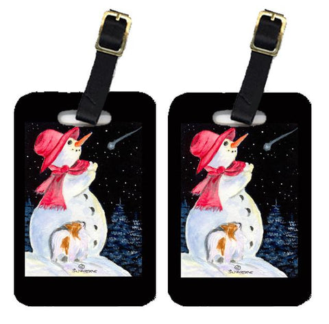 Buy this Snowman with Papillon Luggage Tags Pair of 2