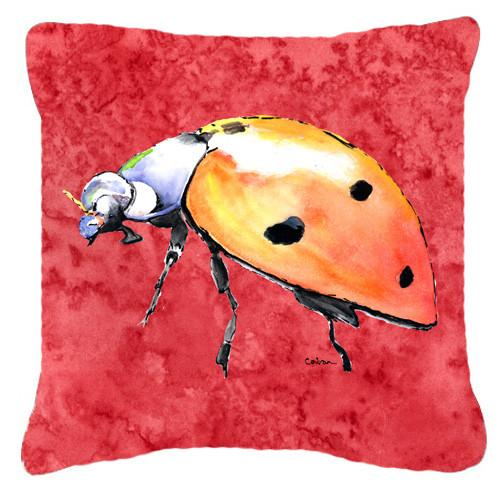 Lady Bug on Red   Canvas Fabric Decorative Pillow by Caroline's Treasures