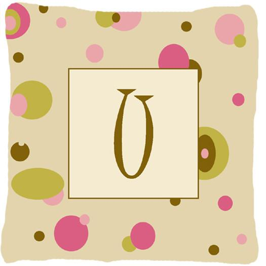 Buy this Letter U Initial Monogram - Tan Dots Decorative   Canvas Fabric Pillow