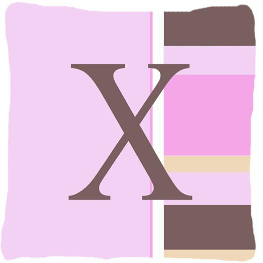 Buy this Letter X Initial Monogram - Pink Stripes Decorative   Canvas Fabric Pillow