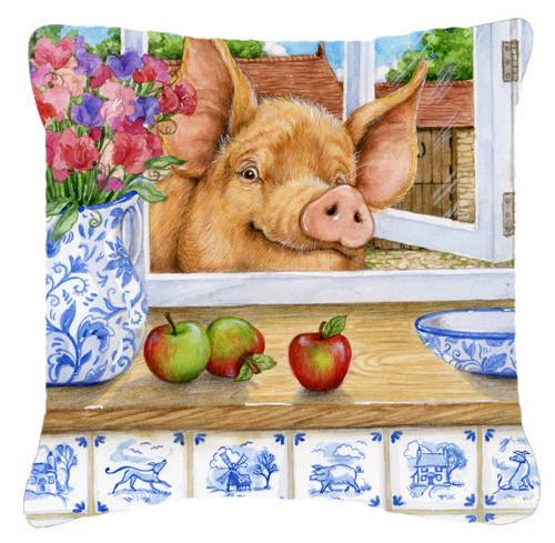 Pig trying to reach the Apple in the Window Canvas Decorative Pillow CDCO0352PW1414 - the-store.com