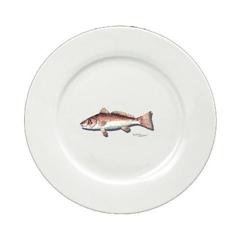 Buy this Red Fish Round Ceramic White Salad Plate 8489-DPW