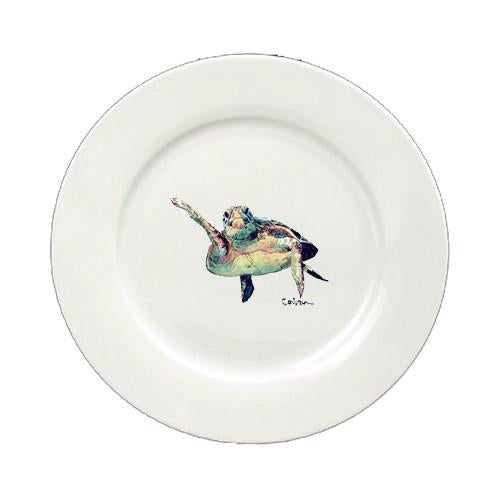 Buy this Loggerhead Turtle Hi Five Round Ceramic White Salad Plate 8636-DPW