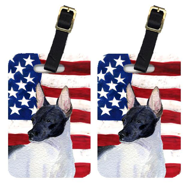 Buy this Pair of USA American Flag with Rat Terrier Luggage Tags SS4054BT