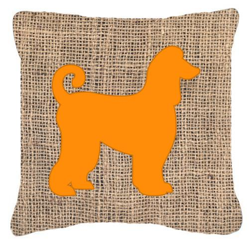 Afghan Hound Burlap and Orange   Canvas Fabric Decorative Pillow BB1066 by Caroline's Treasures