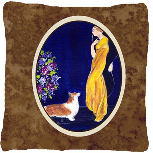 Buy this Lady with her Corgi Decorative   Canvas Fabric Pillow