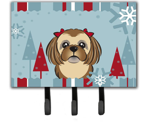 Buy this Winter Holiday Chocolate Brown Shih Tzu Leash or Key Holder BB1745TH68