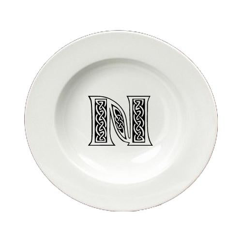 Letter N Initial Monogram Celtic Round Ceramic White Soup Bowl CJ1059-N-SBW-825 by Caroline's Treasures