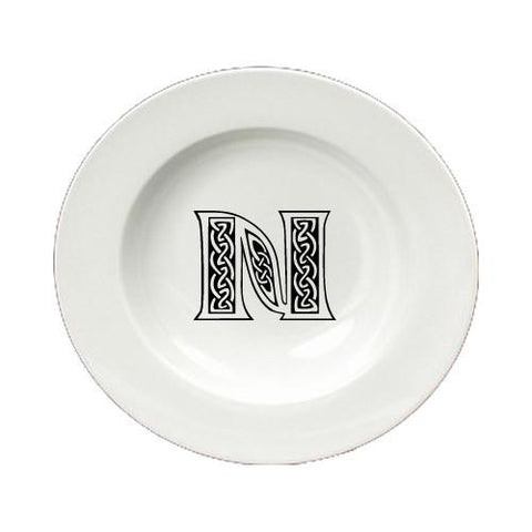 Buy this Letter N Initial Monogram Celtic Round Ceramic White Soup Bowl CJ1059-N-SBW-825