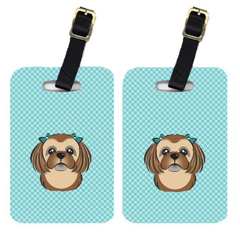 Buy this Pair of Checkerboard Blue Chocolate Brown Shih Tzu Luggage Tags BB1187BT