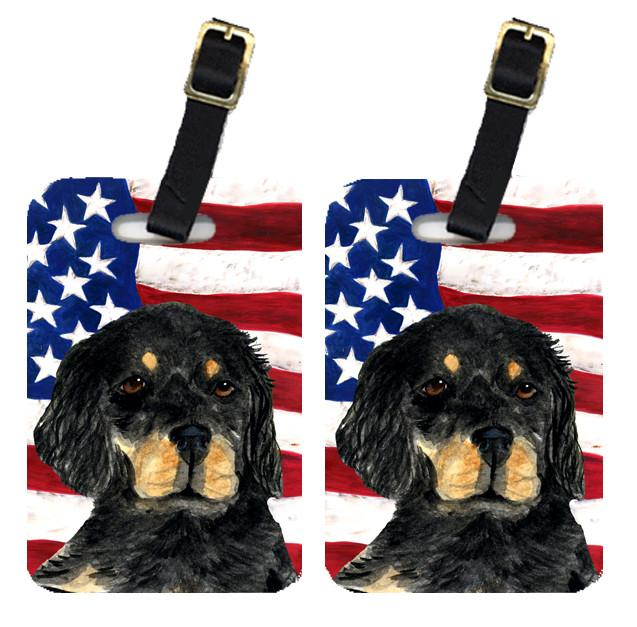 Buy this Pair of USA American Flag with Gordon Setter Luggage Tags SS4042BT