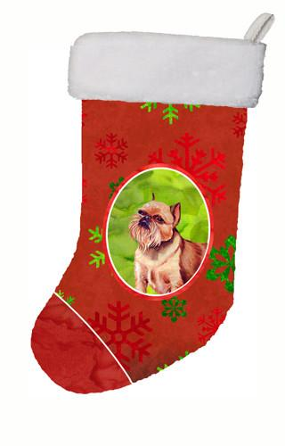 Brussels Griffon Red and Green Snowflakes Holiday Christmas Christmas Stocking by Caroline's Treasures