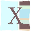 Buy this Letter X Initial Monogram - Blue Stripes Decorative   Canvas Fabric Pillow