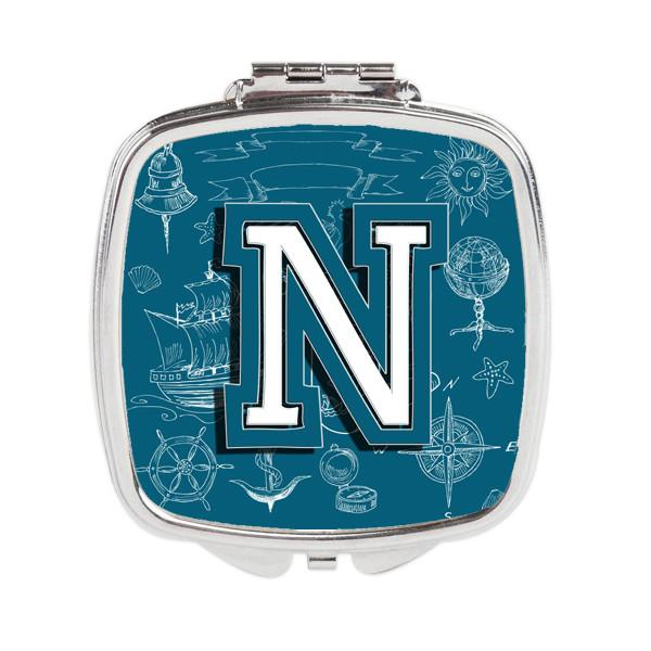 Letter N Sea Doodles Initial Alphabet Compact Mirror CJ2014-NSCM by Caroline's Treasures