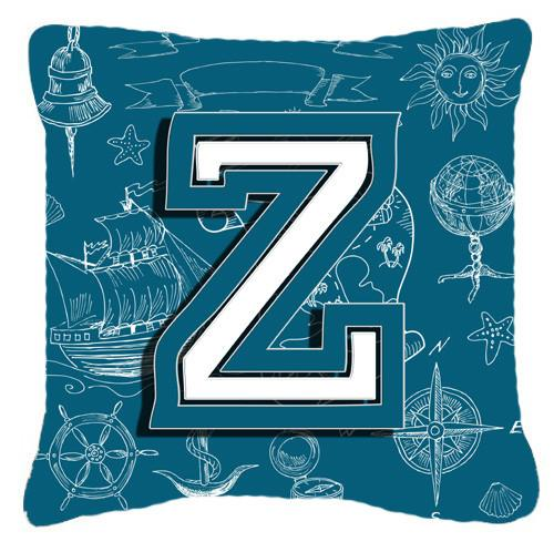Buy this Letter Z Sea Doodles Initial Alphabet Canvas Fabric Decorative Pillow CJ2014-ZPW1414