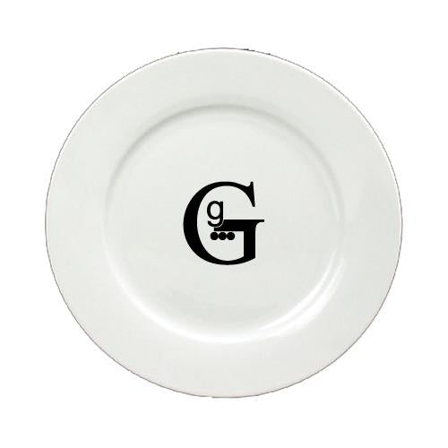 Buy this Letter G Initial Monogram Modern Round Ceramic White Salad Plate CJ1056-G-DPW