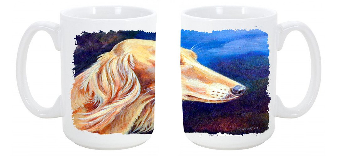 Saluki Dishwasher Safe Microwavable Ceramic Coffee Mug 15 ounce 7124CM15 by Caroline's Treasures