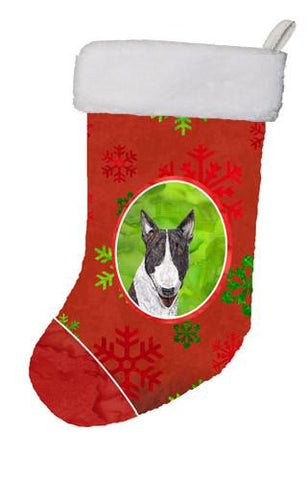 Buy this Bull Terrier Red Snowflakes Holiday Christmas Stocking SC9589-CS