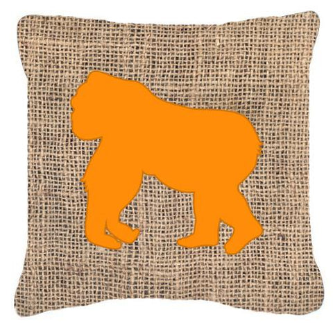 Buy this Gorilla Burlap and Orange   Canvas Fabric Decorative Pillow BB1129