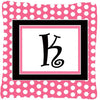 Letter K Initial Monogram Pink Black Polka Dots Decorative Canvas Fabric Pillow - the-store.com