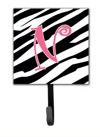 Buy this Letter N Initial Monogram - Zebra Stripe and Pink Leash Holder or Key Hook