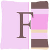 Letter F Initial Monogram - Pink Stripes Decorative   Canvas Fabric Pillow - the-store.com