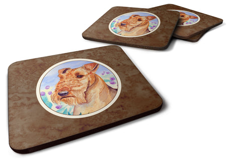 Buy this Airedale Terrier in Flowers Foam Coaster Set of 4 7007FC