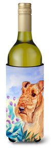 Buy this Airedale Terrier in Flowers Wine Bottle Beverage Insulator Beverage Insulator Hugger