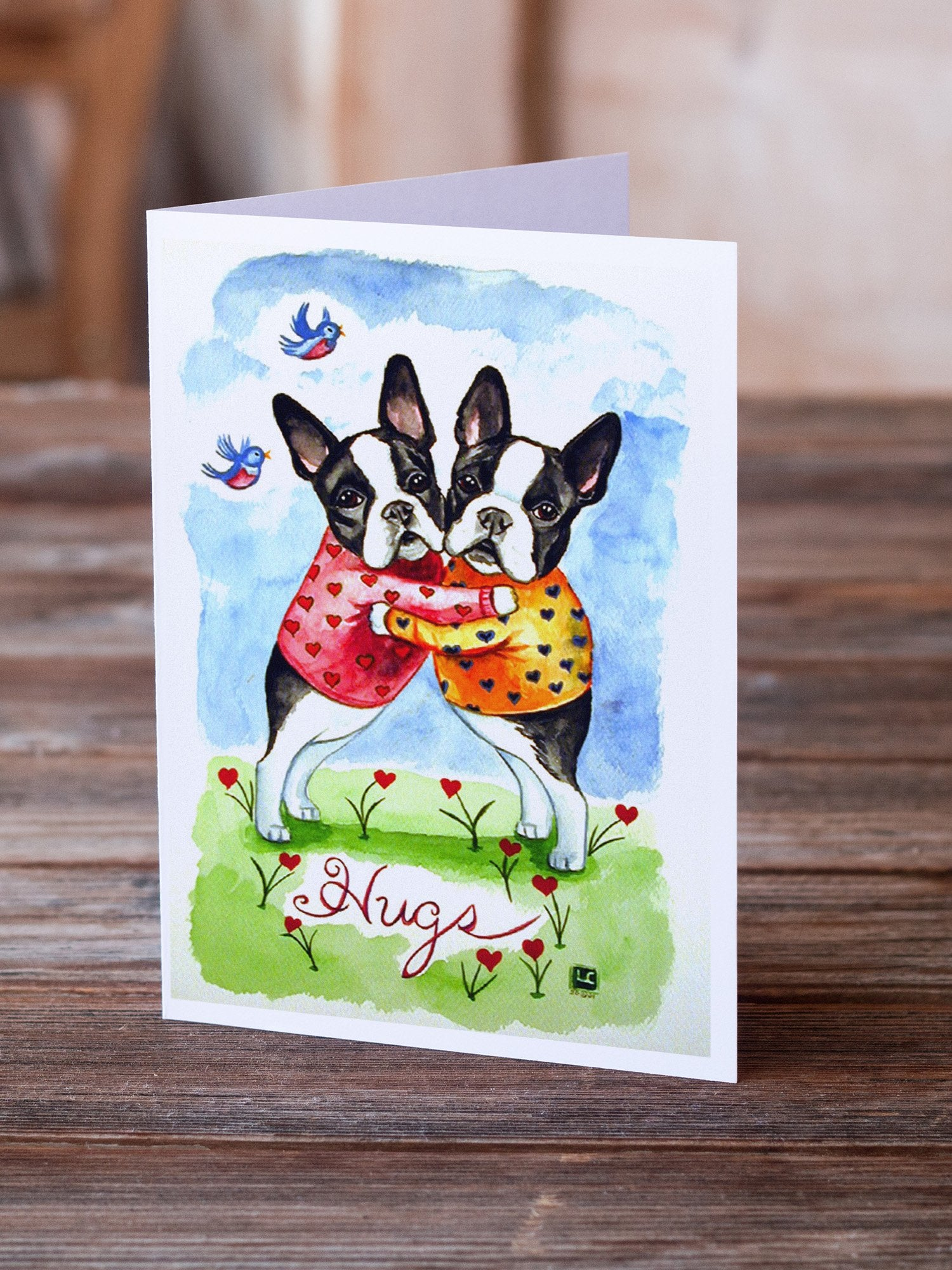 Buy this Hugs Boston Terrier Greeting Cards and Envelopes Pack of 8