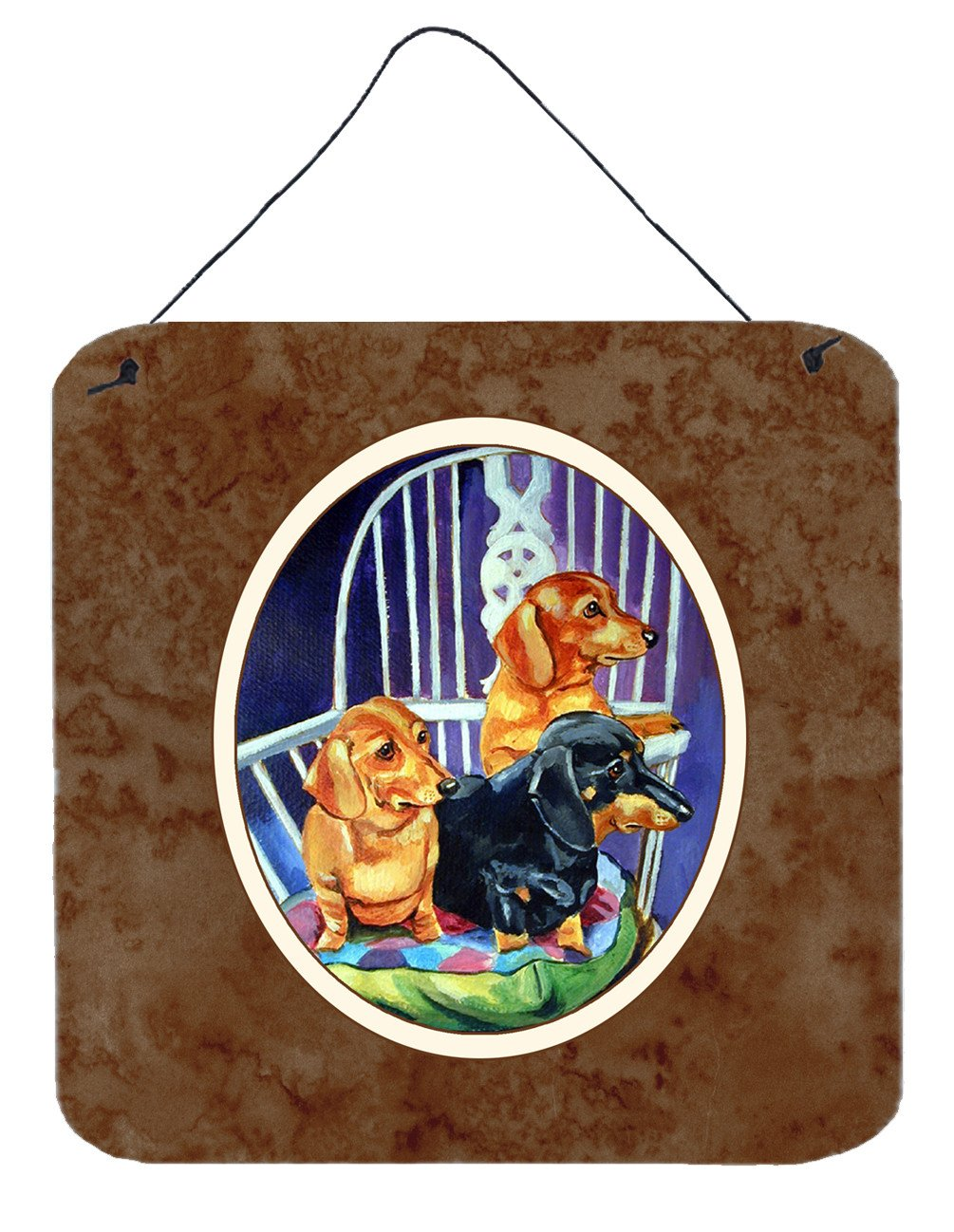 Buy this Dachshund Two Red and a Black and Tan Wall or Door Hanging Prints 7025DS66