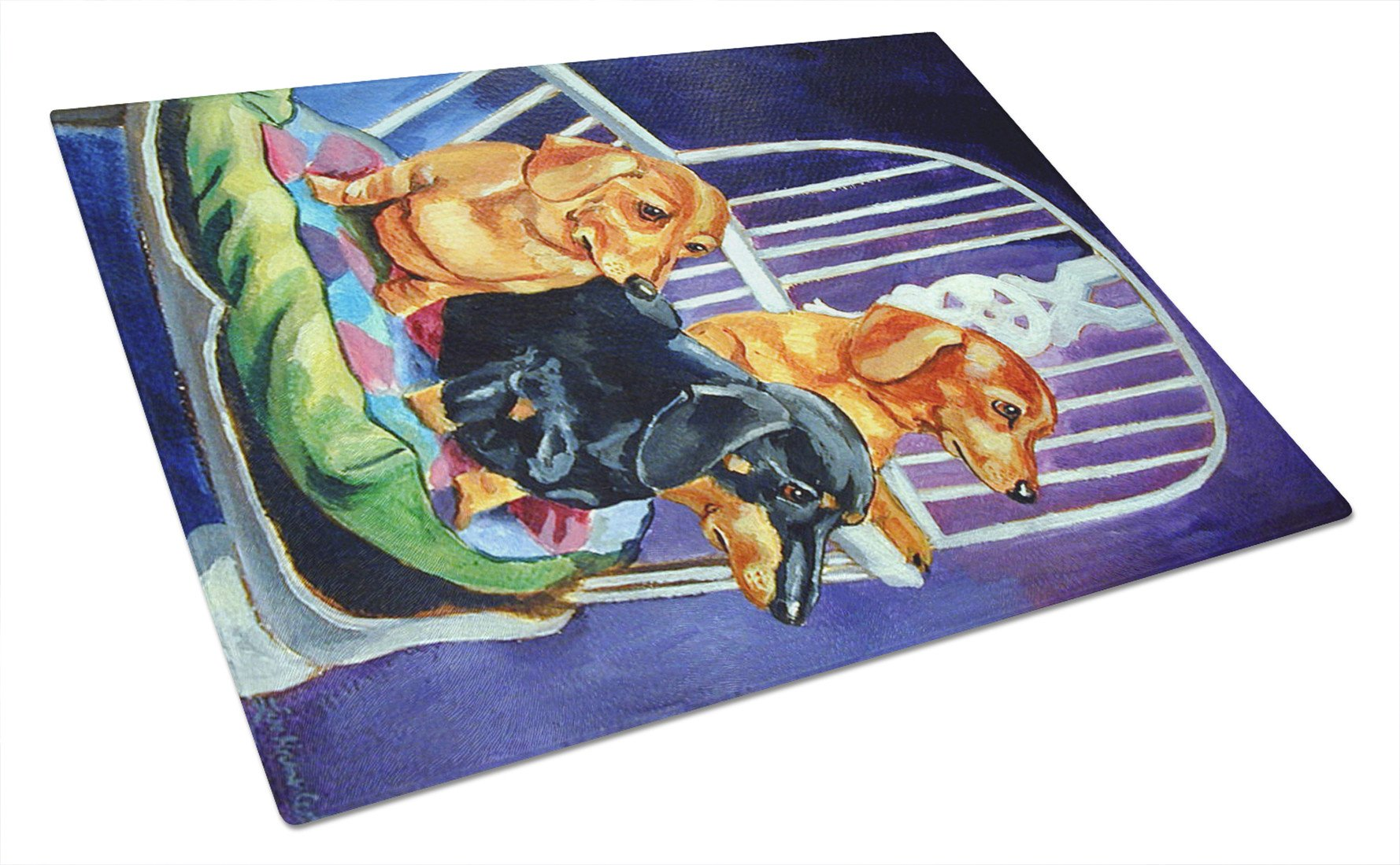 Buy this Dachshunds Two Red and a Black and Tan Glass Cutting Board Large