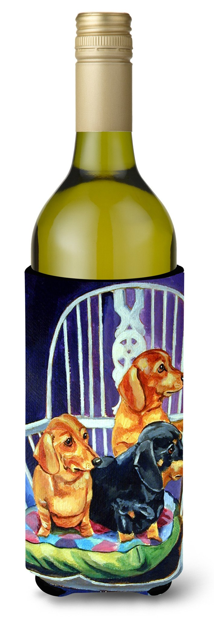 Buy this Dachshund Two Red and a Black and Tan Wine Bottle Beverage Insulator Beverage Insulator Hugger