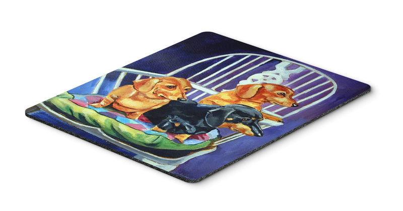Buy this Dachshunds Two Red and a Black and Tan Mouse Pad, Hot Pad or Trivet