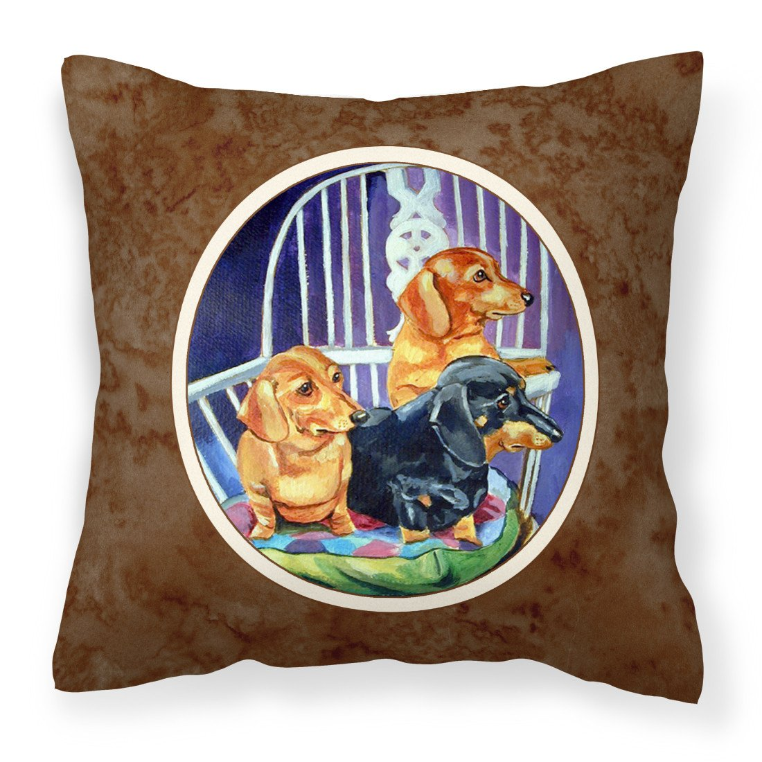Buy this Dachshund Two Red and a Black and Tan Fabric Decorative Pillow 7025PW1414