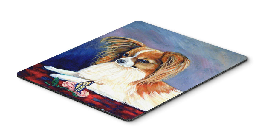 Buy this Sable Papillon with a Butterfly and rose Mouse Pad, Hot Pad or Trivet