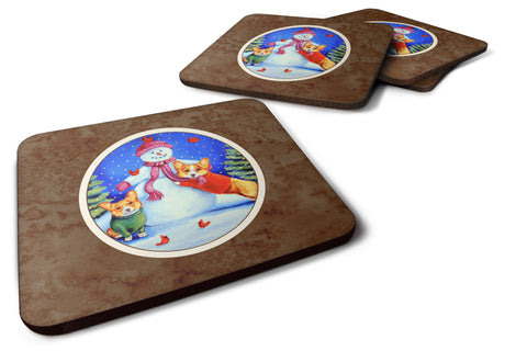 Buy this Snowman with Corgi Foam Coaster Set of 4 7048FC