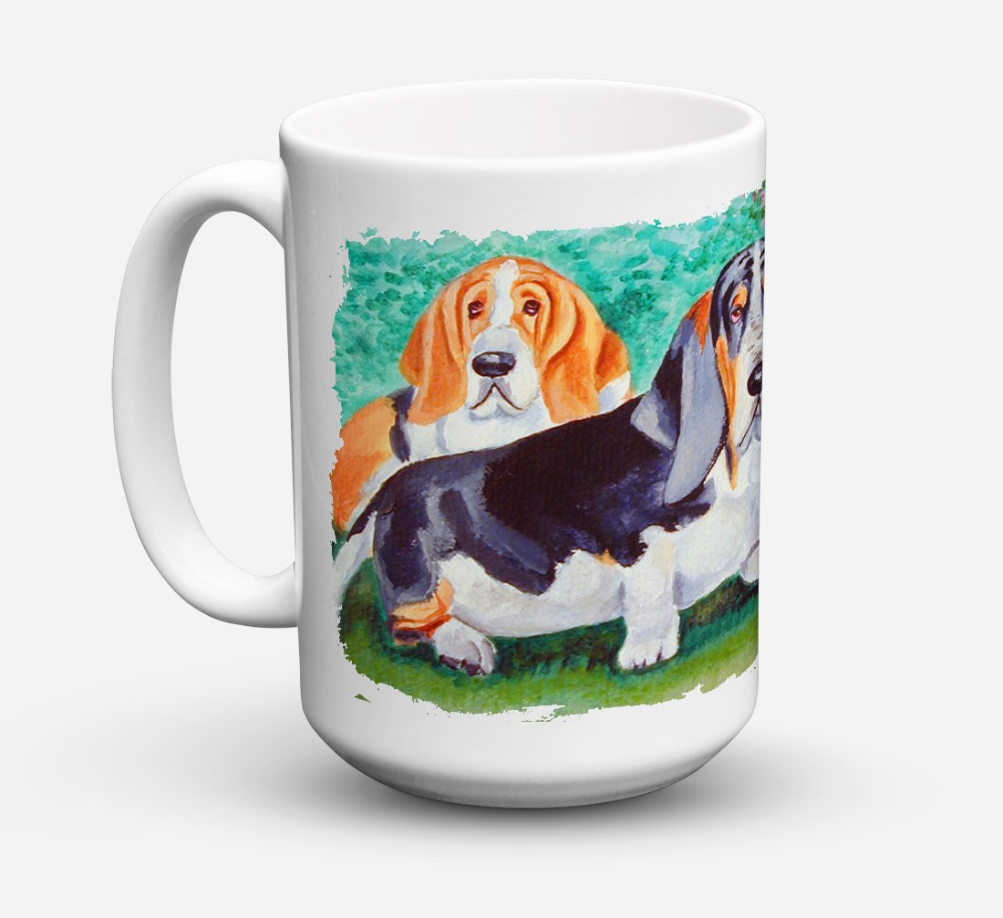 Basset Hound Double Trouble Dishwasher Safe Microwavable Ceramic Coffee Mug 15 ounce 7061CM15 by Caroline's Treasures