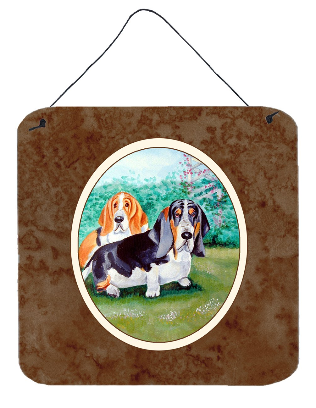 Basset Hound Double Trouble Wall or Door Hanging Prints 7061DS66 by Caroline's Treasures