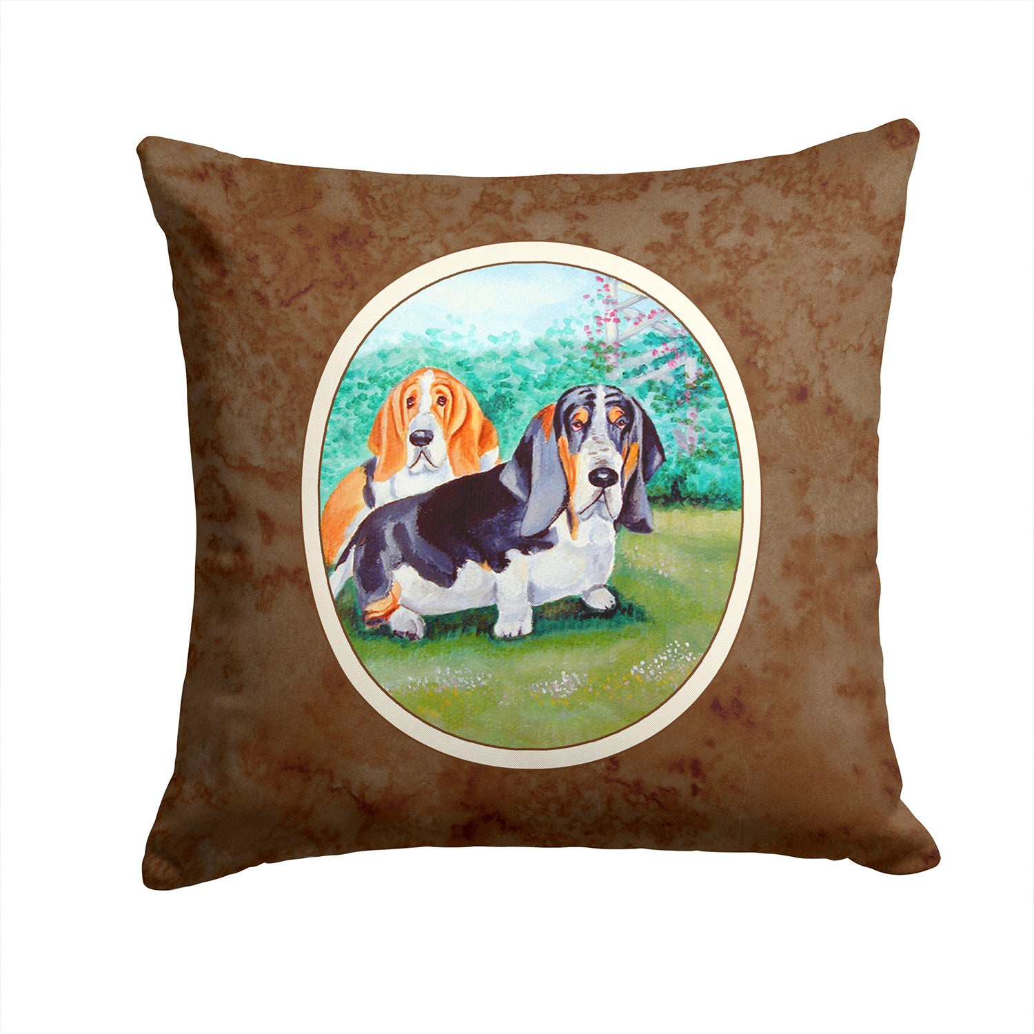 Buy this Basset Hound Double Trouble Fabric Decorative Pillow 7061PW1414